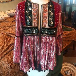 Zara Woman Boho Beaded Velvet Kimono Sleeve Jacket